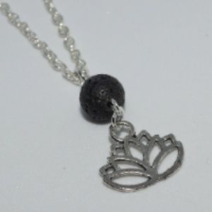 Aromatherapy Lotus Charm With Lava Stone Necklace